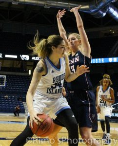 Rising star Dena Motrechuk giving URI a much needed presence in the paint in the 2016-2017 campaign. Photo courtesy of Alex Rimoshytus.